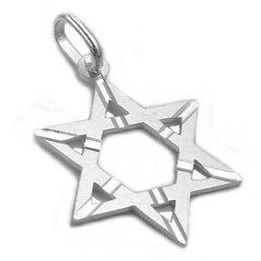 Anhänger Silberanhänger, David Stern, matt, echtes 925 Silber, Unisex