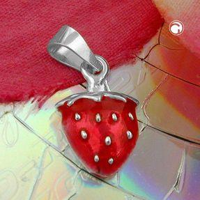 Anhänger-Erdbeere-rot-lackiert-925-Silber