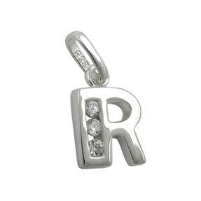 Anhänger, Buchstabe R mit Zirkonia aus echtem 925 Silber, Damen