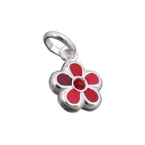 Anhänger-Blume-rot-lackiert-925-Silber