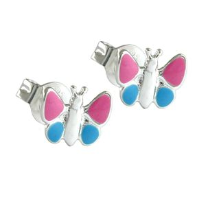 Stecker Ohrstecker, Schmetterling, pink blau, 925 Silber für Kinder