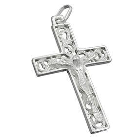 Anhänger Silberanhänger, Kreuz mit Jesus, echtes 925 Silber, Unisex