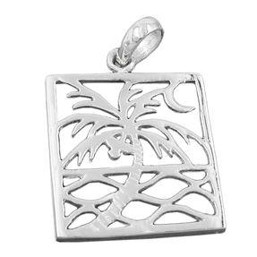 Anhänger-Wellen-Palme-Mond-925-Silber