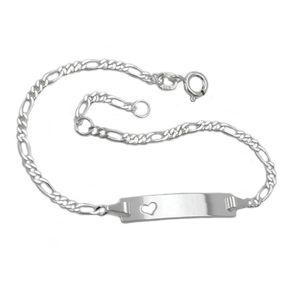 Schildband mit Herz, Armband aus 925 Silber, 18,5cm, Armschmuck, Damen