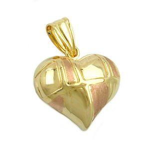 Anhänger Herz aus 375 Gold bicolor, beidseitig gewölbt, Kettenanhänger
