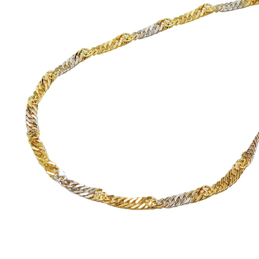 1 8mm singapurkette collier halskette 375 gold bicolor - 375 gold ...