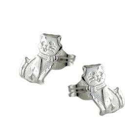 Ohrstecker Stecker Katze Katzen aus 925 Silber, matt-glänzend, Kinder