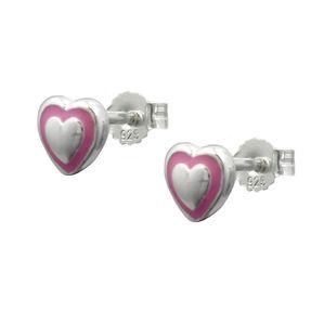 Ohrstecker Stecker Herz Herzen rosa, 925 Silber, Ohrschmuck für Kinder