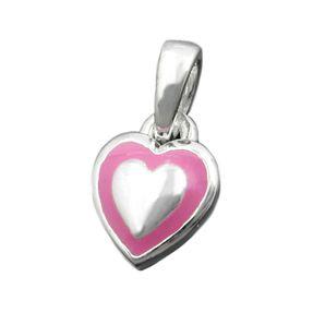 Anhänger Kettenanhänger kleines Herz rosa, 925 Silber, für Kinder