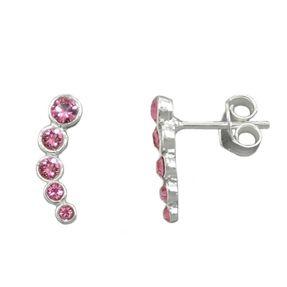 Paar Ohrstecker Stecker Ohrschmuck, Bogen Glas-Steine pink, 925 Silber