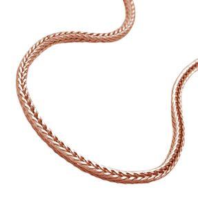 1,5mm Kette Collier Fuchsschwanz vierkant 925 Silber rosé Gold vergoldet, 42cm