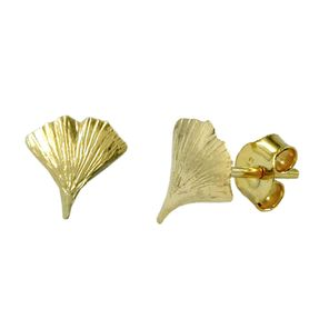 Ohrstecker Ohrringe Ginkgoblatt mit Struktur glänzend 375 Gold Gelbgold