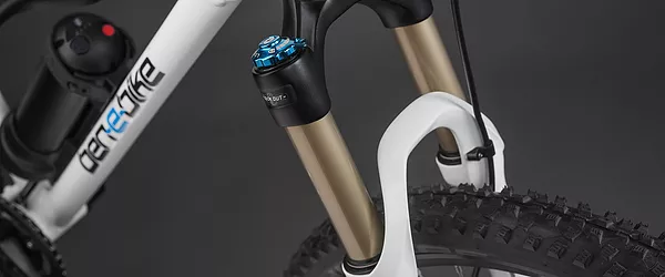 Detailed view of the suspension fork of the e-bike