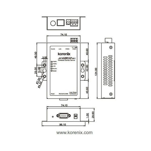 JetPort 5801,1-port RS-232/422/485 to 802.11b/g Wireless Serial Device Server,  5dBi Antenna