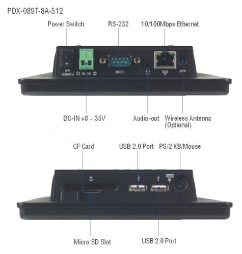 "[EOL] I-PDX-089T-8A-512, 8.9"" Panel PC w/512MB DDR2/2USB/AUDIO/LAN/COM/CF/microSD, 8-35 DC input – Bild 2"