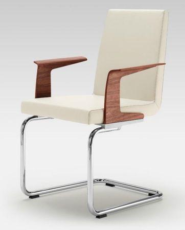Rolf Benz Stuhl 620 Ledergruppe 38, rechteckrohr Gestell verchromt, mit Armlehne in Holz