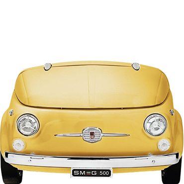 Smeg Kühlvitrine-Minibar im Fiat 500 Retro-Design SMEG500G Farbe Gelb inkl. 5 Jahre Garantie