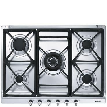 SMEG SDR70XG5 Einbau-Gaskochmulde, 70cm, Classici Design, Edelstahl, 5 Kochzonen inkl. 5 Jahre Garantie