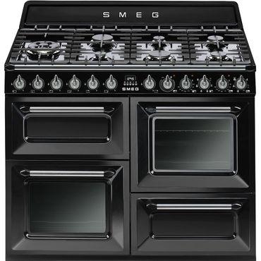 SMEG TR4110BLD1 Kochzentrum110cm x 60cm, Schwarz, Gaskochfeld, Vapor Clean, 3 Backöfen, Victoria Design inkl. 5 Jahre Garantie