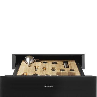 SMEG CPS115N Einbau-Sommelier-Schublade 60cm, H=15cm, Linea - Restyling Design, Schwarzglas