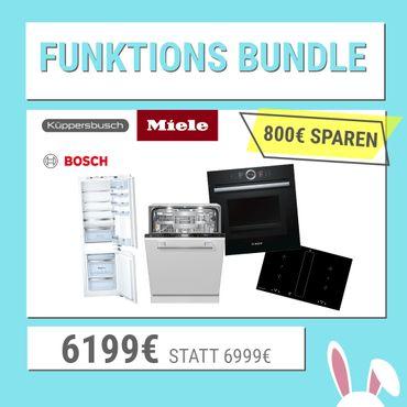 Funktions-Bundle bestehend aus: Bosch HNG6764B6, Küppersbusch KMI 8500.0 SR, Miele G 7565 SCVi, Bosch KIN86AF30