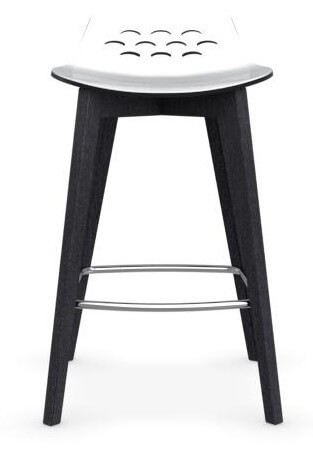 Calligaris Barhocker JAM W CS/1485 Gestell: Graphit Sitzfläche: weiß/schwarz glänzend