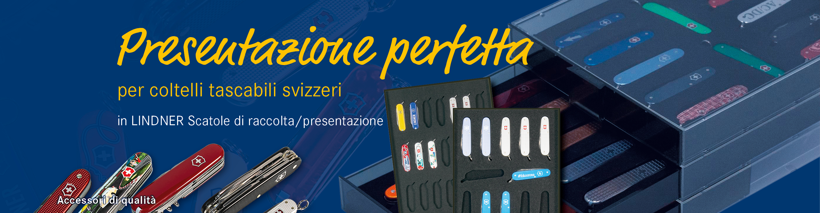 Presentazione perfetta per coltelli tascabili svizzeri