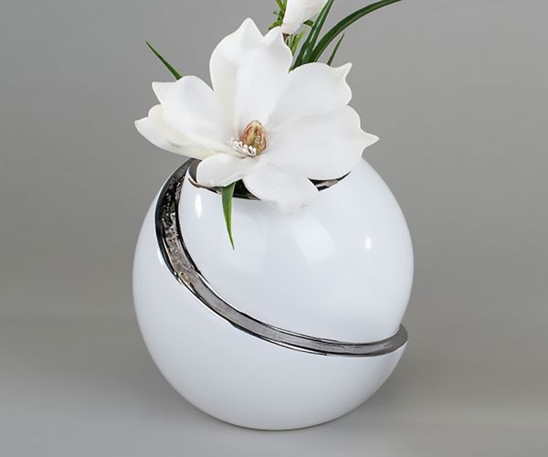 kugelvase keramikvase dekovase blumenvase keramik weiss glasiert 15cm ebay. Black Bedroom Furniture Sets. Home Design Ideas