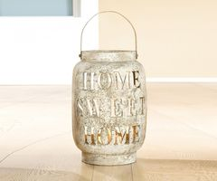 "Gilde Windlicht ""Home Sweet Home"", 59 cm, grau-antik"