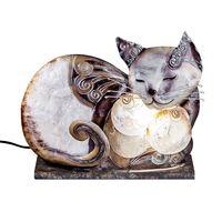 "Lampe ""Katze Muschel"", 26 cm, brauntöne"