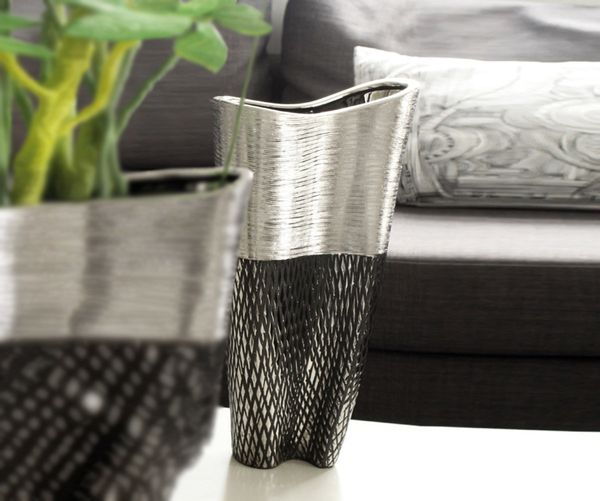 deko vase dekovase keramikvase blumenvase charleston 46 cm silber anthrazit ebay. Black Bedroom Furniture Sets. Home Design Ideas