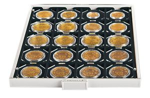 "Coin box CARBO with 20 square compartments, suitable for coin holders 50 x 50 mm (2"" x 2"") and CARRÉE or OCTO coin capsules – Bild 3"