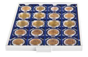 "Coin box MARINE with 20 square compartments, suitable for coin holders 50 x 50 mm (2"" x 2"") and CARRÉE or OCTO coin capsules.  – Bild 2"