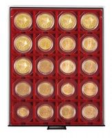 "Coin box SMOKED GLASS with 20 square compartments, suitable for coin holders 50 x 50 mm (2"" x 2"") and CARRÈE or OCTO coin capsules.  – Bild 1"