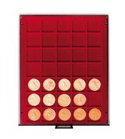 Coin box SMOKED GLASS with 35 quare compartments, suitable for coins and coin capsules with an external Ø up to 36 mm.  – Bild 2