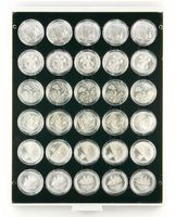 Coin box CARBO with 30 round compartments, suitable for coin capsules with an external Ø of 39,5 mm, e.g. for 20 or 10 EURO silver coins in LINDNER coin capsules.  – Bild 1