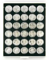 Coin box CARBO with 30 round compartments, suitable for coin capsules with an external Ø of 37,5 mm, e.g. for 20 or 10 EURO silver coins (PL) in original coin capsules.  – Bild 1