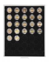 Münzbox CARBO mit 35 runden Vertiefungen für Münzkapseln mit Außen-Ø32 mm, z.B. für 2 Euro-Münzen in LINDNER Münzkapseln – Bild 1