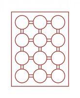 Box monnaies FUMÉ à 12 alvéoles ronds pour capsules Ø ext. 58 mm et pour grandes capsules LINDNER avec cercles de maintien