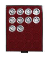 Box monnaies FUMÉ à 20 alvéoles ronds pour capsules Ø ext. 46 mm et petites capsules box monnaies LINDNER  avec cercles de maintien – Bild 1