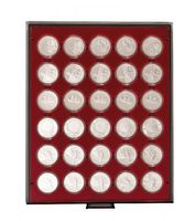 Coin box SMOKED GLASS with 30 round compartments, suitable for coins and coin capsules with an external Ø of 39 mm, e.g. for 20 or 10 EURO silver coins GERMANY in LINDNER coin capsules.  – Bild 1