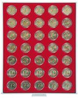 Box per monete STANDARD con 35 incavature tonde per capsule per monete con Ø 32 mm esterno, per es. per monete 2 Euro in capsule LINDNER – Bild 1