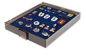 Collection Box SMOKED GLASS with a blue foam insert for pins, medals, emblems etc.  – Bild 2