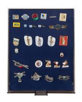 Collection Box SMOKED GLASS with a blue foam insert for pins, medals, emblems etc.  – Bild 1