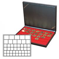 NERA M coin case with a light red insert with 45 square compartments in various sizes. Suitable for coins or coin capsules with Ø up to 24, 28, 39 and 44 mm.  – Bild 1