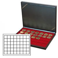 NERA M coin case with a dark red insert with 48 square compartments. Suitable for coins or coin capsules with Ø up to 30 mm. Also suitable for Champagne capsules. – Bild 1