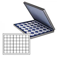 NERA M coin case with a dark blue insert with 48 square compartments. Suitable for coins or coin capsules with Ø up to 30 mm. Also suitable for Champagne capsules. – Bild 1