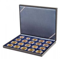 NERA M coin case with a dark blue insert with 20 square compartments. Suitable for coins or coin capsules with Ø up to 50 mm, coin holders 50 x 50, CARRÉE and OCTO coin capsules.  – Bild 2