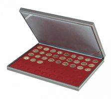 NERA M coin case with a dark red insert with 54 round compartments. Suitable for coins with Ø of 25,75 mm, e.g. 2 EURO coins.  – Bild 1