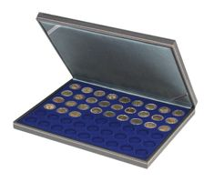 NERA M coin case with a dark blue insert with 54 round compartments. Suitable for coins with Ø of 25,75 mm, e.g. 2 EURO coins.  – Bild 1